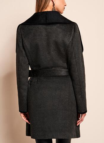 Manteau enveloppant ceinturé à col câle, Gris, hi-res