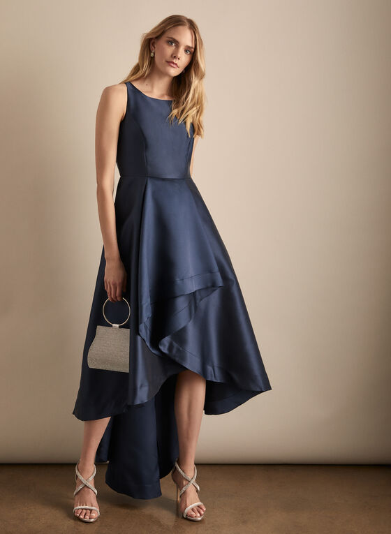 Adrianna Papell - Satin High Low Dress, Blue