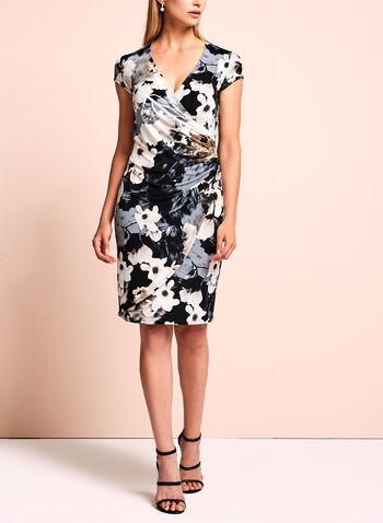 Floral Print Faux-Wrap Dress, , hi-res
