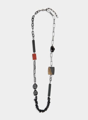 Collier long à mélange de pierres, Noir, hi-res,  collier, long, pierres, billes, maillons, résine, automne hiver 2019