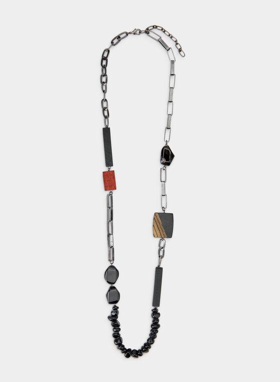 Collier long à mélange de pierres, Noir, hi-res