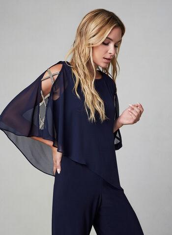 Xscape - Combinaison poncho à détails strass, Bleu, hi-res,  jersey, mousseline, asymétrique, cristaux, strass, épaules ajourées, épaules nues, automne hiver 2019, combinaison de soirée, combinaison chic