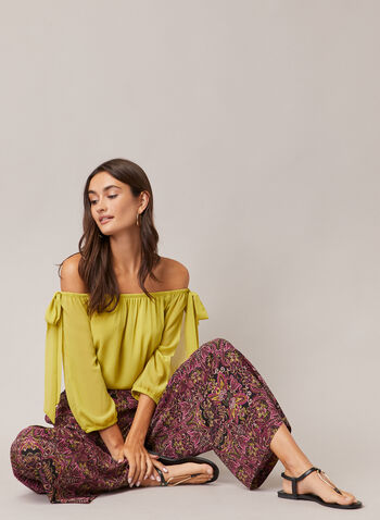 Bardot Neckline Slit Sleeve Top, Green,  blouse, bardot, knot detail, balloon sleeves, slit sleeves, chiffon, fall winter 2020