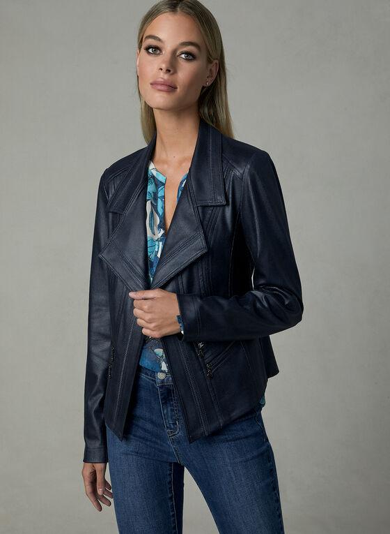 Vex - Faux Leather Jacket, Blue