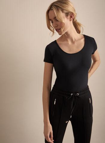 T-shirt basique, Noir,  t-shirt, manches courtes, jersey, col dégagé, basique, printemps été 2020