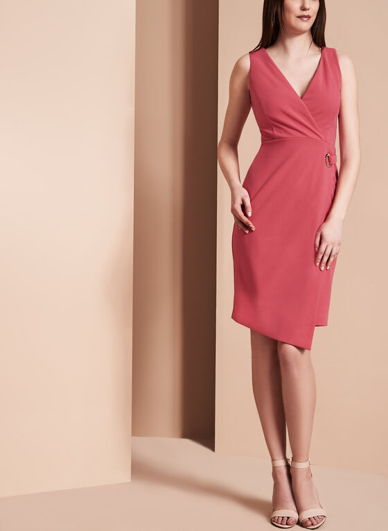 Ivanka Trump Faux Wrap Dress, Red, hi-res