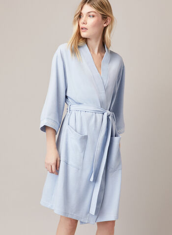 3/4 Sleeve Textured Robe , Blue,  fall winter 2020, robe, sleepwear, belt, knit fabric, embroidery