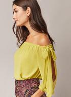 Bardot Neckline Slit Sleeve Top, Green