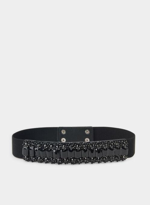 Rhinestone Embellished Plastic Belt, Black