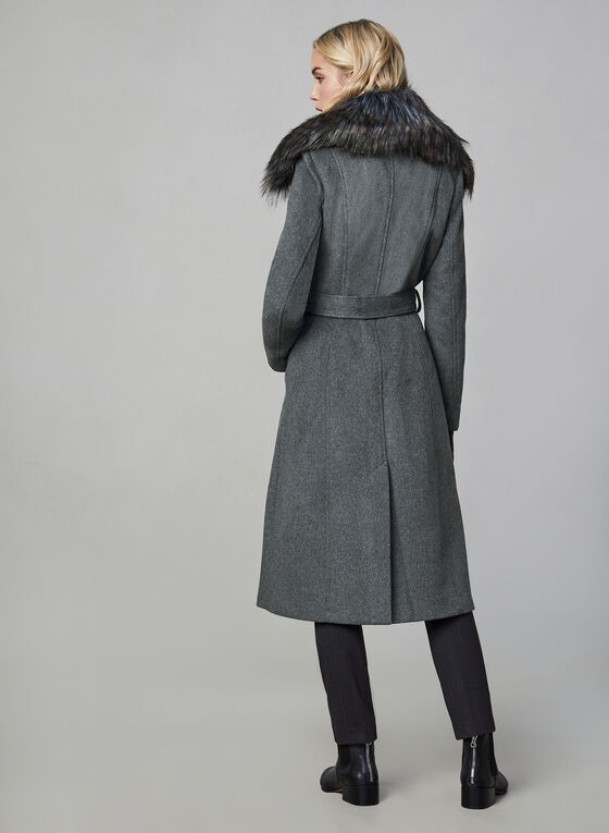 Karl Lagerfeld Paris - Belted Wool Blend Coat, Grey