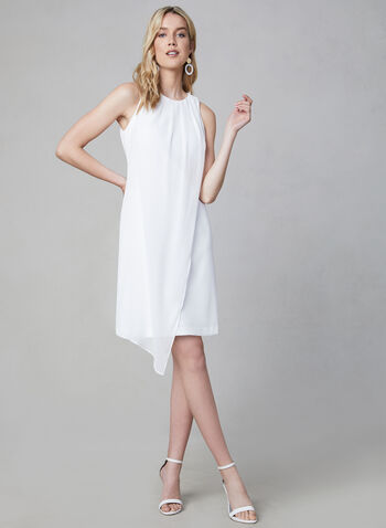 Kensie - Sleeveless Crepe Dress, White,  chiffon, scuba, pleated, spring 2019, summer 2019