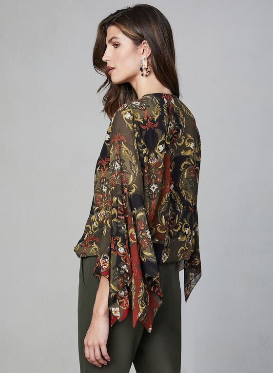 Baroque Print Chiffon Blouse, Black, hi-res