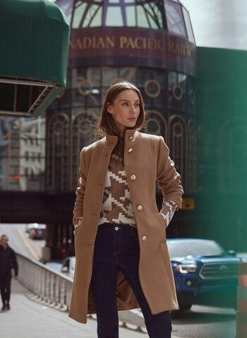 High Collar Wool Blend Coat, Brown,  coat, wool, button front, high collar, pockets, fall winter 2020
