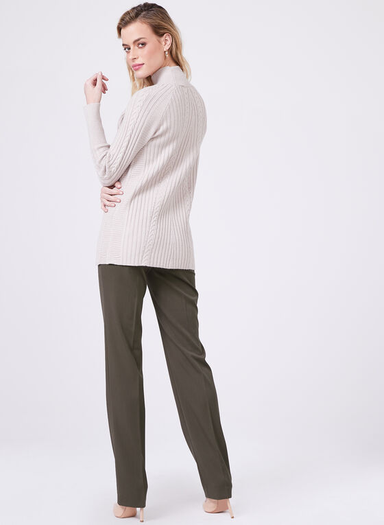 Funnel Neck Knit Sweater, Off White, hi-res