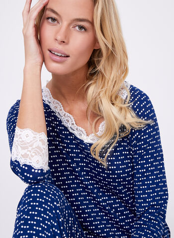 Kathy Ireland - Dot Print Lace Trim Pajama Set, Blue, hi-res