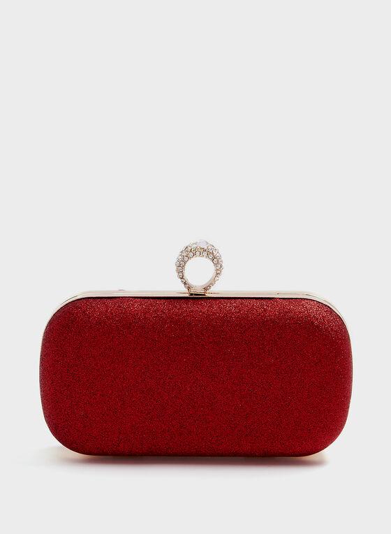 Glitter Ring Clasp Clutch, Red, hi-res