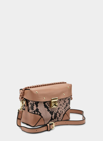 Snake Print Crossbody Bag, Pink,  animal print, faux leather, rectangle, fall 2019, winter 2019