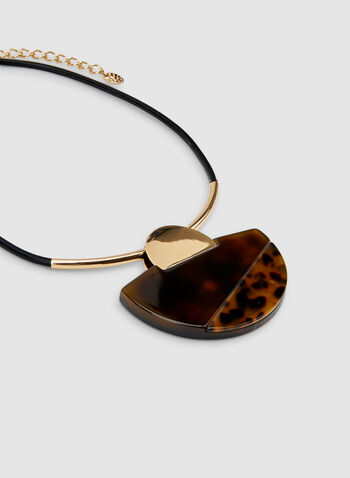 Animal Print Lucite Necklace, Black, hi-res,  lucite necklace, short necklace