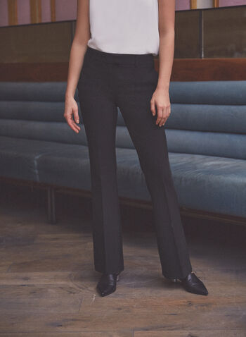 Flare Leg Pants, Black,  pants, flare leg, pleats, pockets, stretchy, spring summer 2020