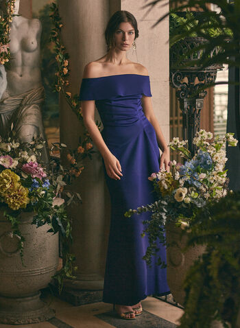 BA Nites - Off-the-Shoulder Drape Dress, Blue,  dress, evening, occasion, drape, foldover, off-the-shoulder, strapless, cascade, stretchy, gathered, spring summer 2020