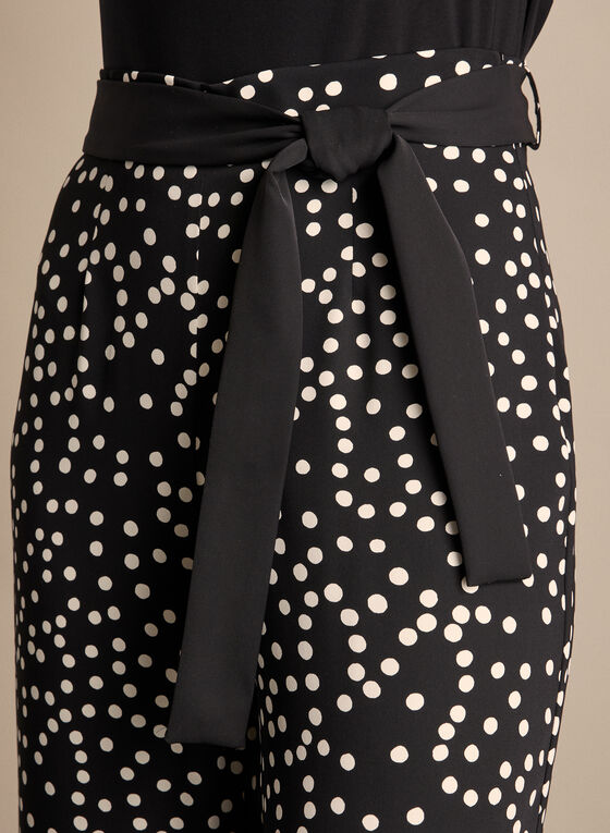Polka Dot Print Wide-Leg Pants, Black