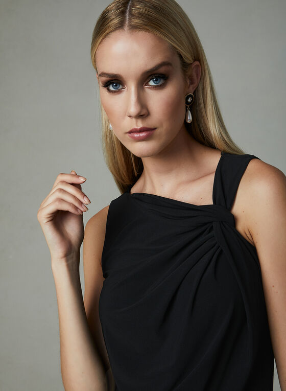 Twist Detail Sleeveless Top, Black, hi-res