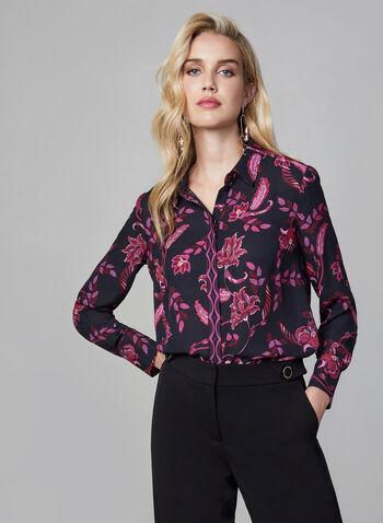 Baroque Print Blouse, Black, hi-res,  long sleeves, button down, shirt collar, baroque, fall 2019, winter 2019