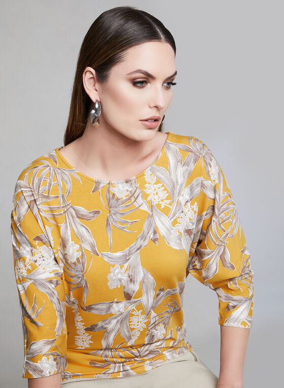 Floral Print Dolman Sleeve Top, Yellow