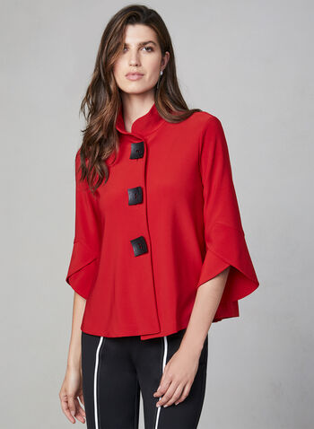 Joseph Ribkoff - Veste à manches tulipe, Rouge, hi-res,  automne hiver 2019, manches tulipe, col chinois, col à revers, col modulable, manches ¾, manches longues, Canada, boutons