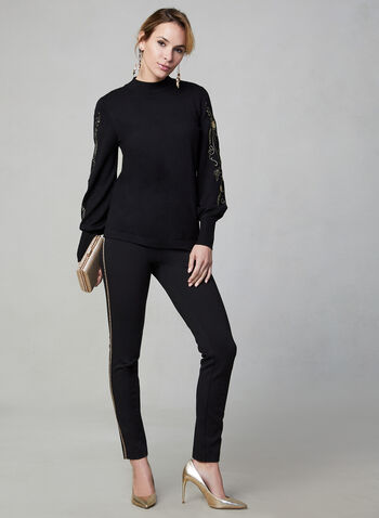 Blouson Sleeve Sweater, Black, hi-res,  fall winter 2019, sweater, embroidery, blouson sleeves