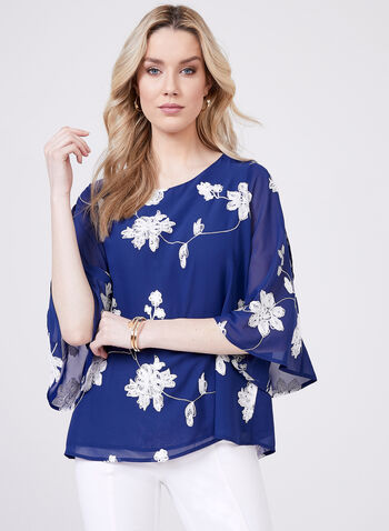 Embroidered Cold-Shoulder Blouse, Blue, hi-res