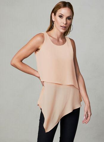 Asymmetrical Sleeveless Blouse, Pink,  sleeveless, spring 2019, asymmetrical, layered