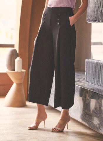 Jupe-culotte à détails boutons, Noir,  pantalon, jupe-culotte, gaucho, jambe large, boutons, poche, pull-on, printemps été 2021