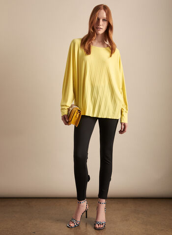 Frank Lyman - Pleated Boat Neck Top, Yellow,  top, blouse, jersey, stretchy, pleated, batwing, 3/4 sleeves, spring summer 2020