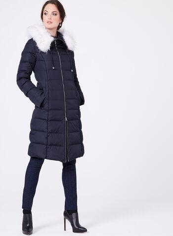 Manteau matelassé avec similifourrure amovible, Bleu, hi-res