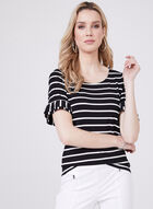 Stripe Print Top With Ruffle Sleeve Detail, Black, hi-res