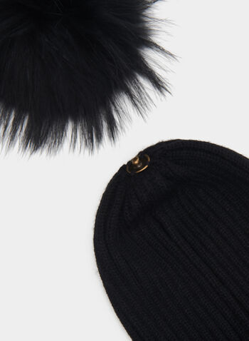 Fur Pompom Beaded Tuque, Black, hi-res
