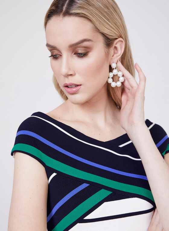 Adrianna Papell - Stripe Print Off The Shoulder Dress, Multi, hi-res