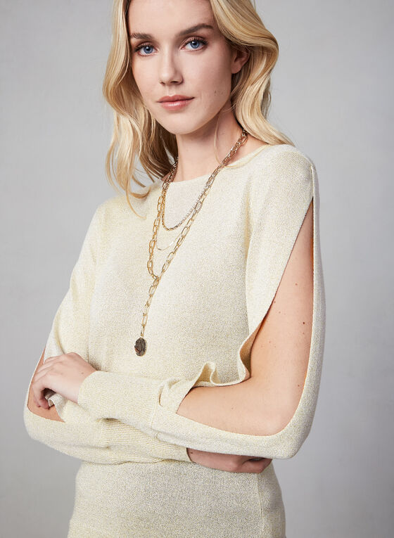 Peak-a-Boo Sleeve Knit Sweater, Off White
