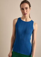 Sleeveless Knit Tank Top, Blue