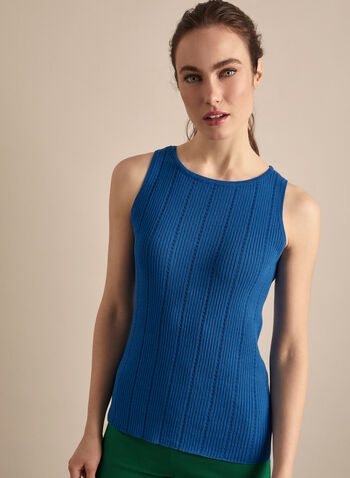 Sleeveless Knit Tank Top, Blue,  knit, sweater, tank top, cami, knit top, spring top, comfortable, spring 2020, summer 2020