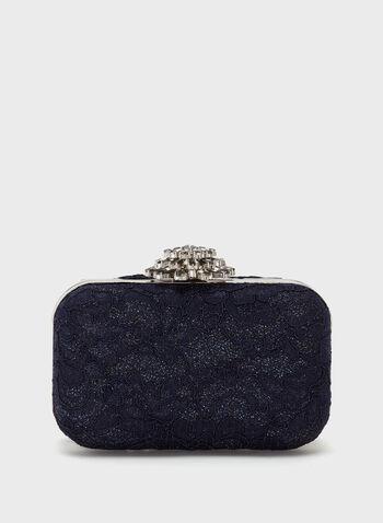 Glitter Lace Box Clutch, Blue, hi-res