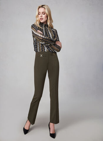 Metallic Detail Slim Leg Pants, Green,  Fall winter 2019, slim leg, pants, stretchy fabric