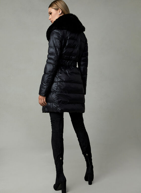 Quilted Faux Down Coat, Black