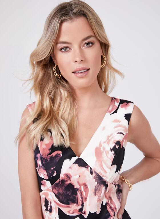Marina - Robe à motif floral et ourlet volanté, Noir, hi-res