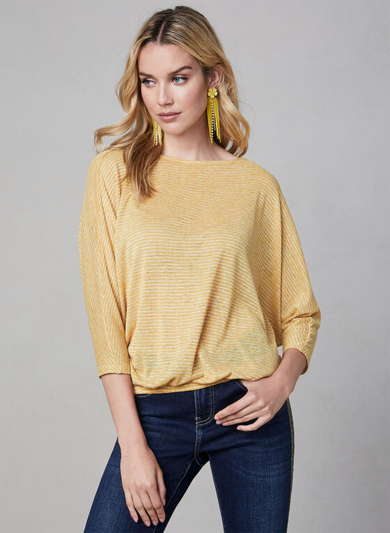 Striped Dolman Sleeve Top, Gold