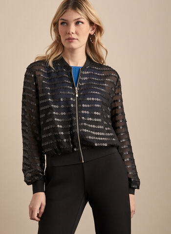 Mesh & Faux Leather Bomber Jacket, Black,  Spring summer 2020, bomber jacket, long sleeves, faux-leather details, mesh fabric
