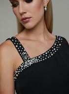 Karl Lagerfeld Paris - Beaded Neck Crepe Dress, Black, hi-res