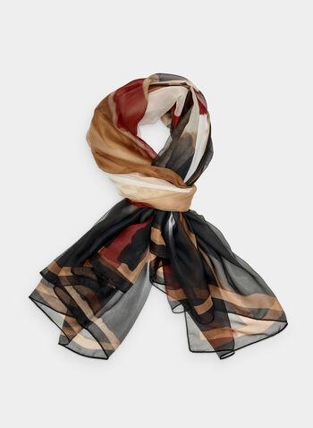 Foulard léger motif tartan, Noir, hi-res,  foulard, léger, tartan, automne hiver 2019