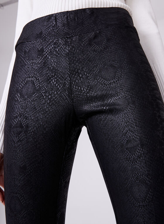 Pull-On Straight Leg Python Print Pants, Black, hi-res